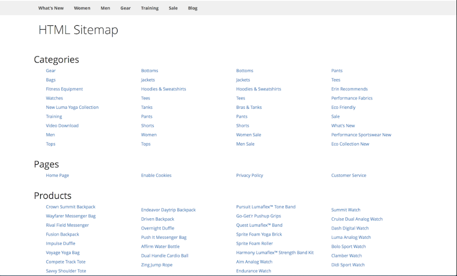 Sitemap Page Example