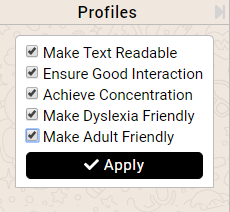 preset accessibility profiles